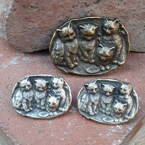 Vintage kittens broach and earring set